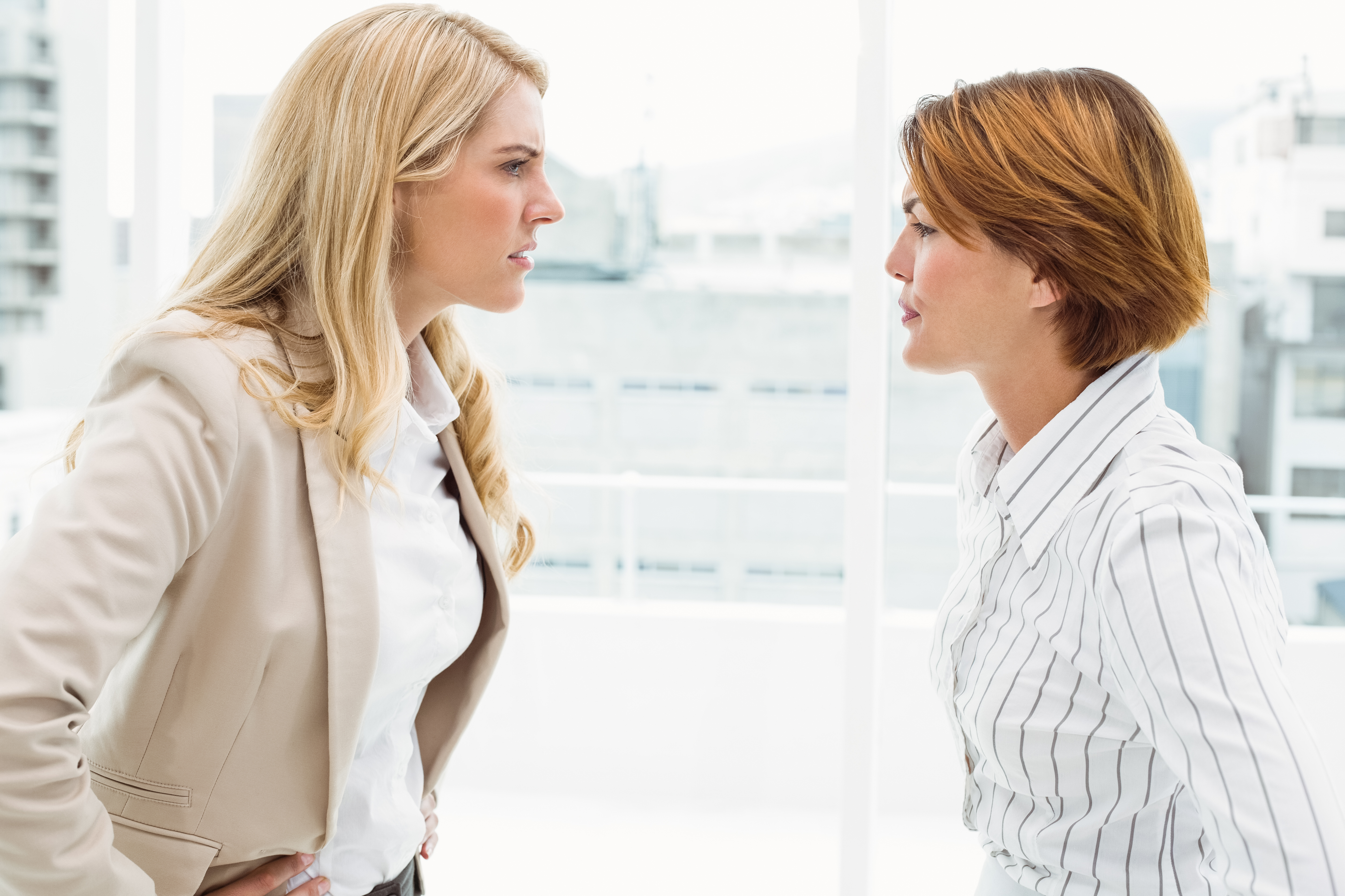 Business female colleagues in an argument at office