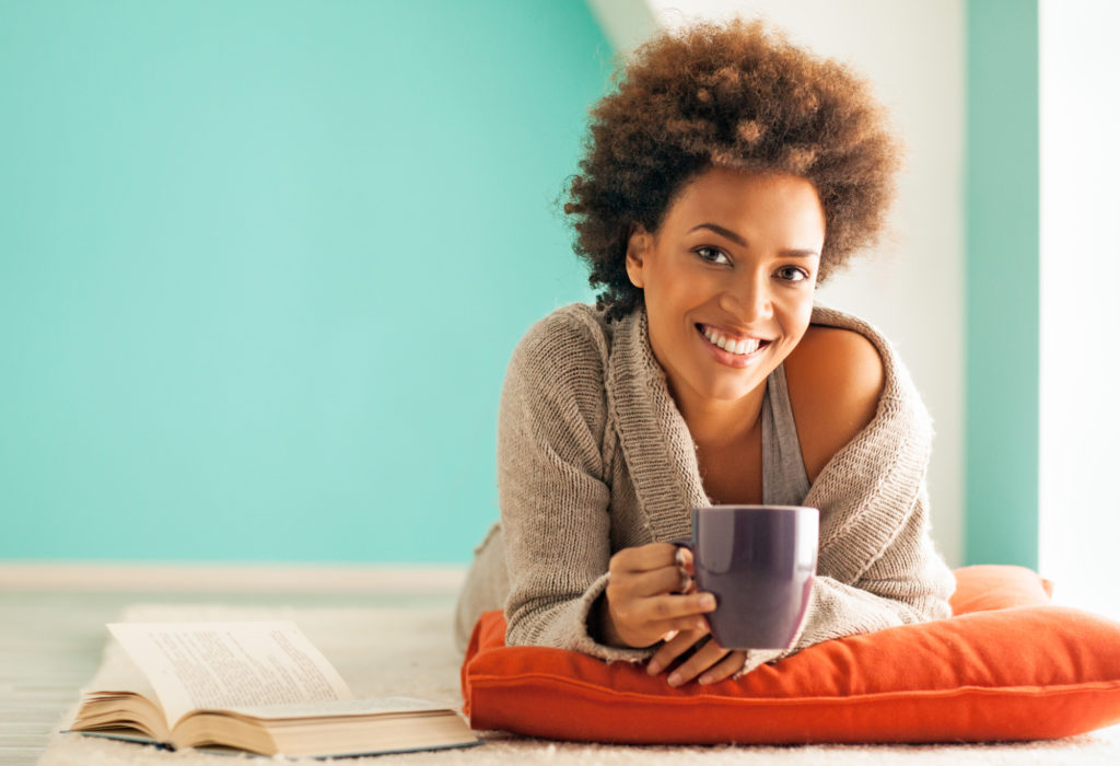 woman relaxing coffee drinks